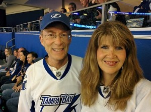 Sarah, my wife, and I at a Tampa Bay Lightning hockey game